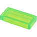 LEGO Transparent Bright Green Tile 1 x 2 with Groove (30070)