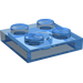 LEGO Transparent Dark Blue Plate 2 x 2 (3022)