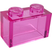 LEGO Transparent Dark Pink Brick 1 x 2 without Bottom Tube (3065 / 35743)