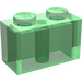 LEGO Transparent Green Brick 1 x 2 (3004)