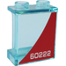 LEGO Transparent Light Blue Panel 1 x 2 x 2 with '60222' (Left Side) Sticker with Side Supports, Hollow Studs