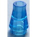 LEGO Transparent Medium Blue Cone 1 x 1 without Top Groove