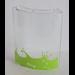 LEGO Transparent Panel 4 x 4 x 6 Corner Round with Lime Liquid and Splashes, Fish Skeleton facing Left Sticker