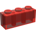 LEGO Transparent Red Brick 1 x 3 (3622)