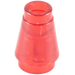 LEGO Transparent Red Cone 1 x 1 with Top Groove (64288)