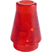 LEGO Transparent Red Cone 1 x 1 without Top Groove (6188)