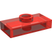 LEGO Transparent Red Plate 1 x 2 with 1 Stud (without Bottom Groove)