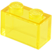 LEGO Transparent Yellow Brick 1 x 2 without Bottom Tube (3065)