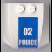 LEGO Wedge 4 x 4 x 0.66 Curved with '02 POLICE' Sticker (45677)