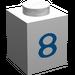 "LEGO White Brick 1 x 1 with Blue ""8"""
