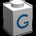 "LEGO White Brick 1 x 1 with Blue ""G"""