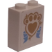 LEGO White Brick 1 x 2 x 2 with Golden Paw Print and Ribbon Sticker with Inside Stud Holder
