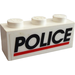 LEGO White Brick 1 x 3 with Black POLICE Red Line Sticker from Set 6483