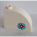 LEGO White Brick 1 x 3 x 2 Curved Top with Magenta Flower (Right) Sticker