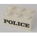"LEGO White Brick 2 x 3 with Black ""POLICE"" Serif Decoration"