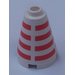 LEGO White Cone 2 x 2 x 2 with Red Stripes (Safety Stud)