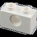 LEGO White Technic Brick 1 x 2 with Hole (3700)