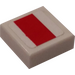 LEGO White Tile 1 x 1 with X-Wing Red Rectangle Sticker with Groove