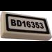 """LEGO White Tile 1 x 2 with """"BD16353"""" Sticker"""