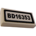 "LEGO White Tile 1 x 2 with ""BD16353"" Sticker with Groove"
