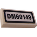 """LEGO White Tile 1 x 2 with """"DM60149"""" Sticker with Groove"""