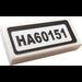 """LEGO White Tile 1 x 2 with """"HA60151"""" Sticker"""