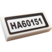 """LEGO White Tile 1 x 2 with """"HA60151"""" Sticker with Groove"""