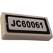 "LEGO White Tile 1 x 2 with ""JC60061"" Sticker with Groove"