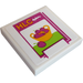 """LEGO White Tile 2 x 2 with """"HLC"""", Bowl with Cherries Sticker with Groove"""