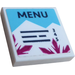 """LEGO White Tile 2 x 2 with """"MENU"""" Sticker with Groove"""