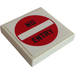 """LEGO White Tile 2 x 2 with '""""NO ENTRY"""" Sign Sticker with Groove"""
