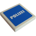 """LEGO White Tile 2 x 2 with """"POLIZEI"""" Sticker with Groove"""