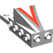 """LEGO White Wedge 2 x 3 with Brick 2 x 4 with Red/Silver """"V"""""""