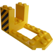 LEGO Yellow Bracket 4 x 7 x 3 with Black and Yellow Danger Stripes on Both Sides Sticker