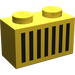 LEGO Yellow Brick 1 x 2 with Black Grille