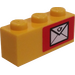 LEGO Yellow Brick 1 x 3 with Mail Envelope (Right) Sticker