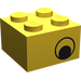 LEGO Yellow Brick 2 x 2 with Black Eye on Both Sides