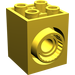 LEGO Yellow Brick 2 x 2 x 2 with 2 Holes and Click Rotation Ring