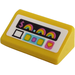 LEGO Yellow Slope 1 x 2 (31°) with '$', Rainbow, Heart and Buttons on a White Background Sticker