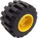 LEGO Yellow Wheel Rim Wide Ø11 x 12 with Notched Hole with Tire 21mm D. x 12mm - Offset Tread Small Wide with Band Around Center of Tread