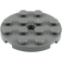 LEGO Dark Stone Gray Plate 4 x 4 Round with Hole and Snapstud (60474)