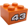 LEGO Orange Brick 2 x 2 with n° 43 on orange background Sticker