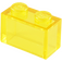LEGO Transparent Yellow Brick 1 x 2 without Bottom Tube (3065 / 35743)